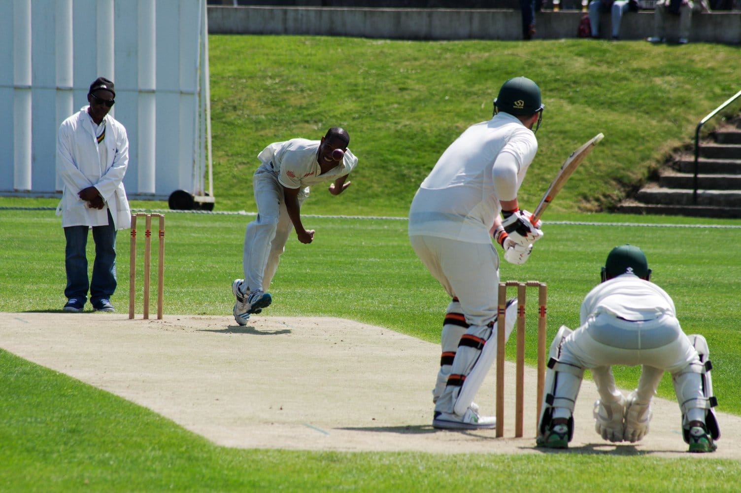 cricketers playing a game