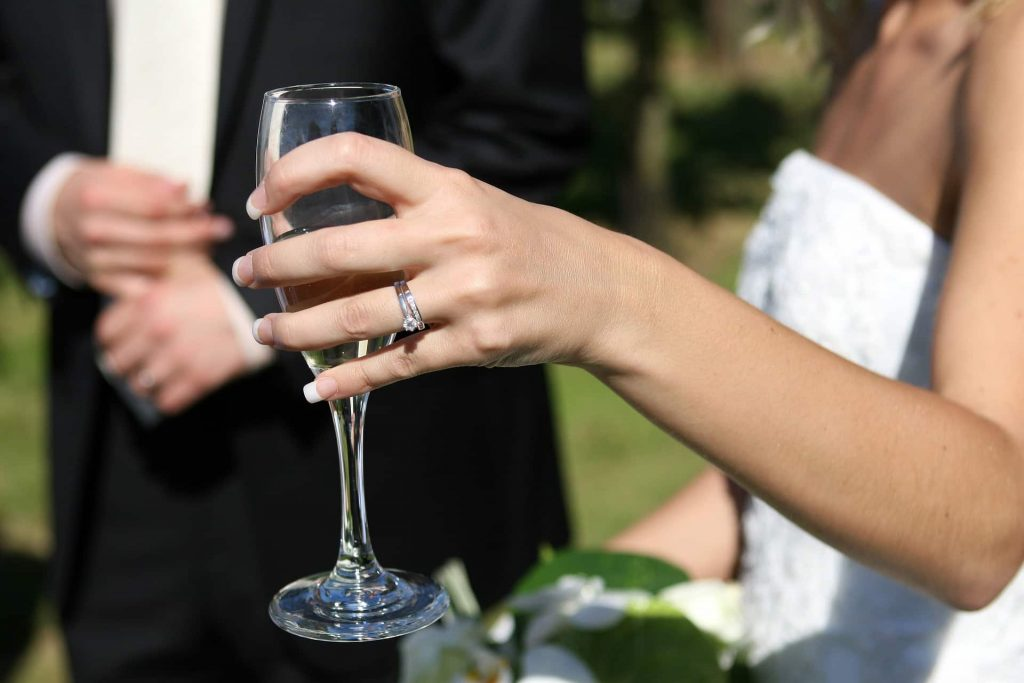 wedding bride and glass in hand