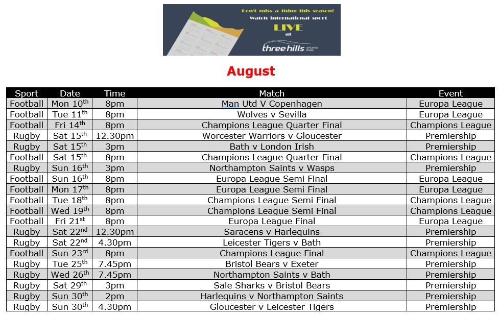 August Live TV Sports Schedule