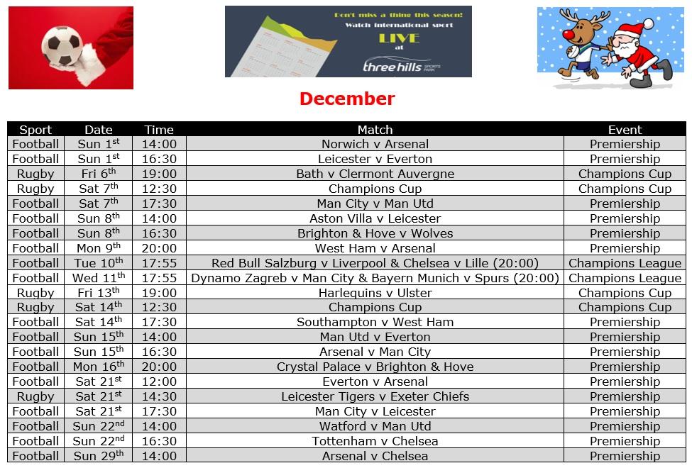 December Live TV Sports Schedule