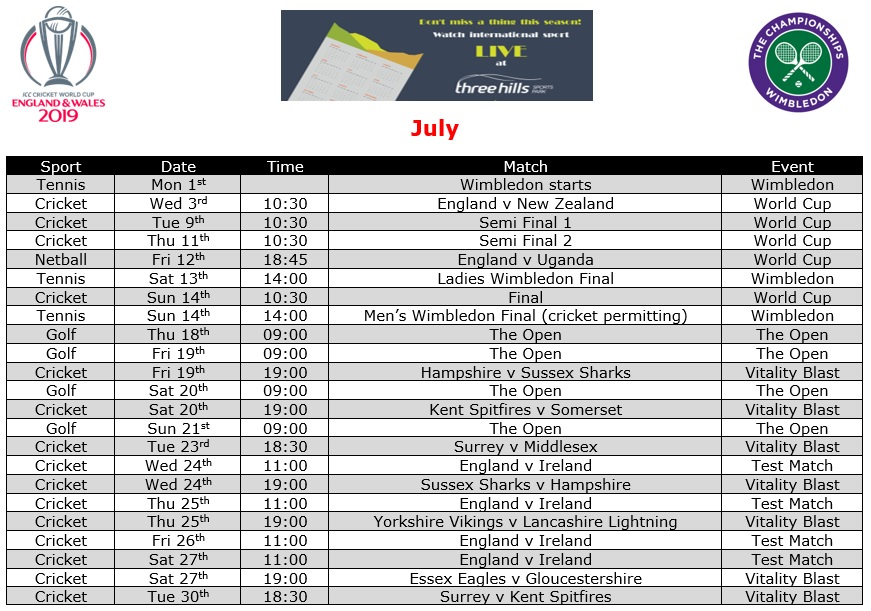 July Live TV Sports Schedule