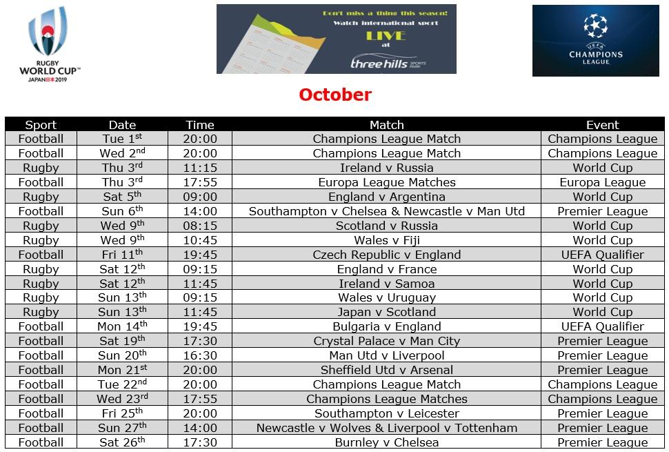October Live TV Sports Schedule