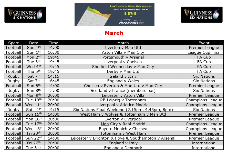 March Live TV Sports Schedule