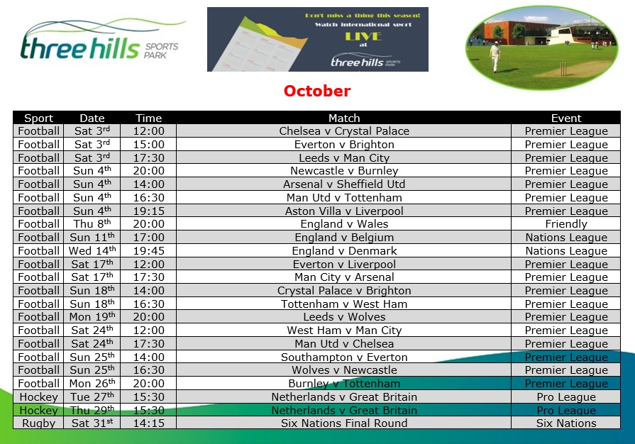 October Live TV Sports Schedule