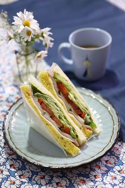 sandwich with a cup of tea