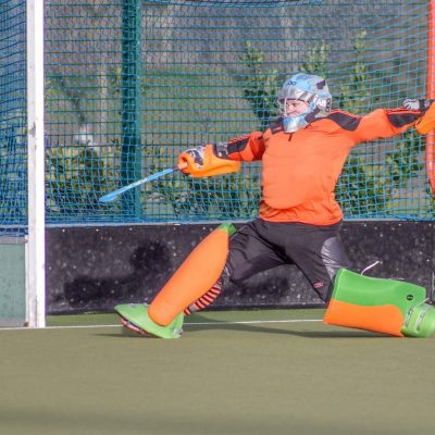 Amy playing in goal hockey