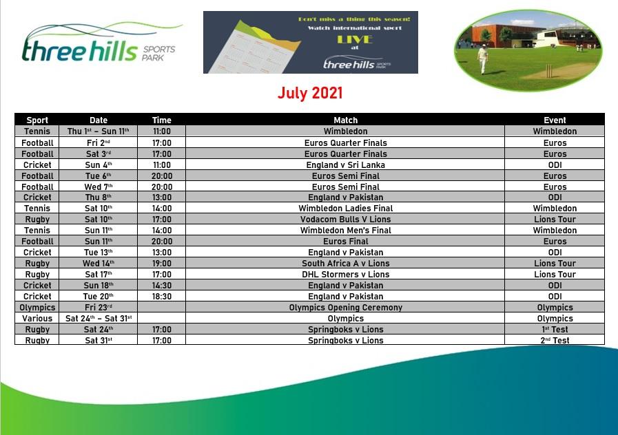 July Live TV Sports Schedule